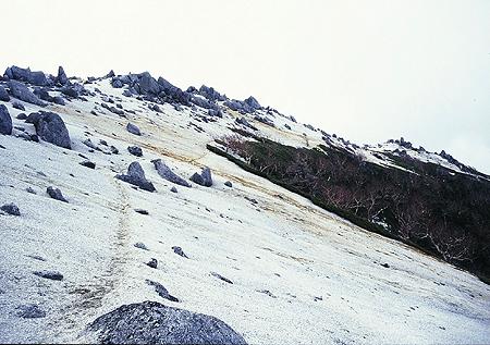 薬師岳に続く稜線